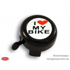 Звонок Green Cycle GCB-1051A-BK I love my bike cтальной синий